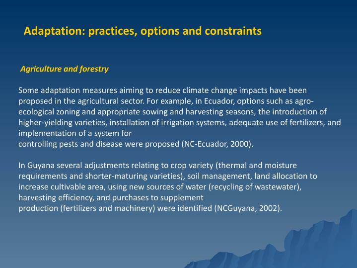 Adaptation: practices, options and constraints