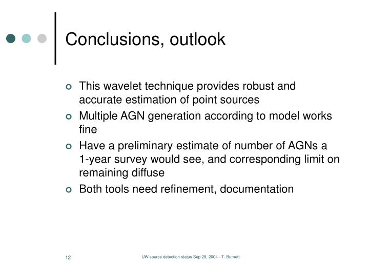 Conclusions, outlook
