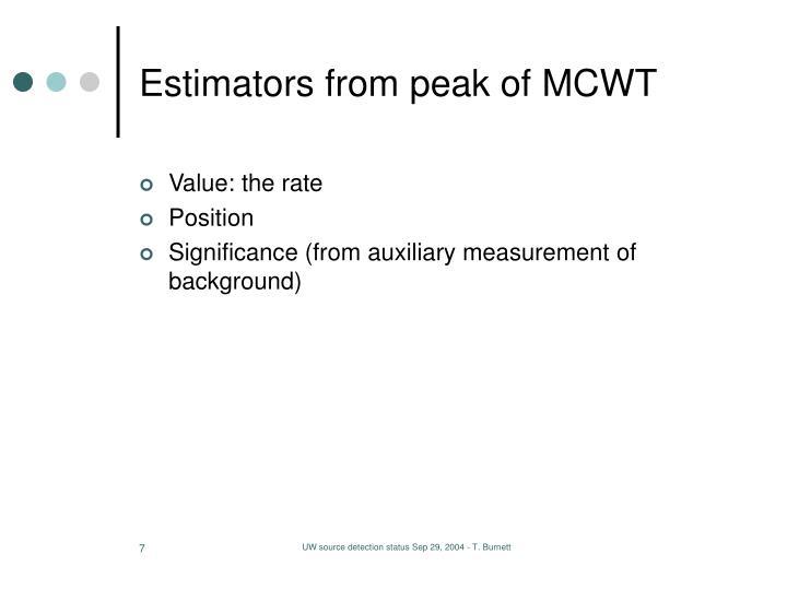 Estimators from peak of MCWT