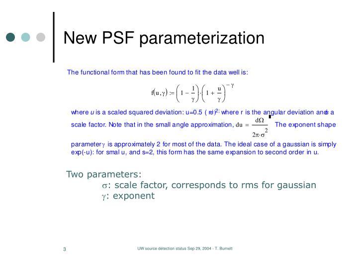 New psf parameterization