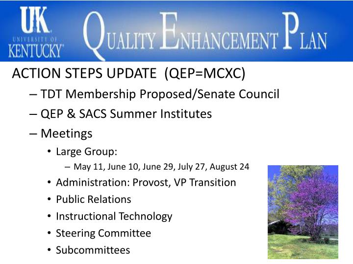 ACTION STEPS UPDATE  (QEP=MCXC)