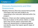 discovery assessments and other assessments