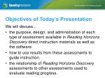 objectives of today s presentation