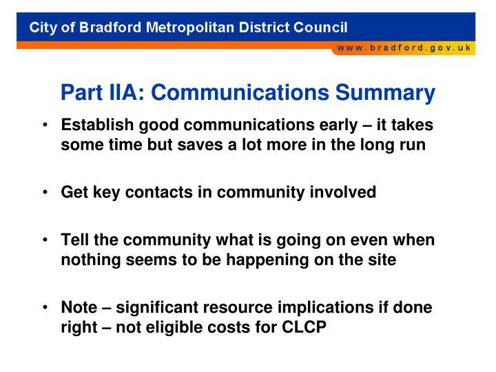 Part IIA: Communications Summary