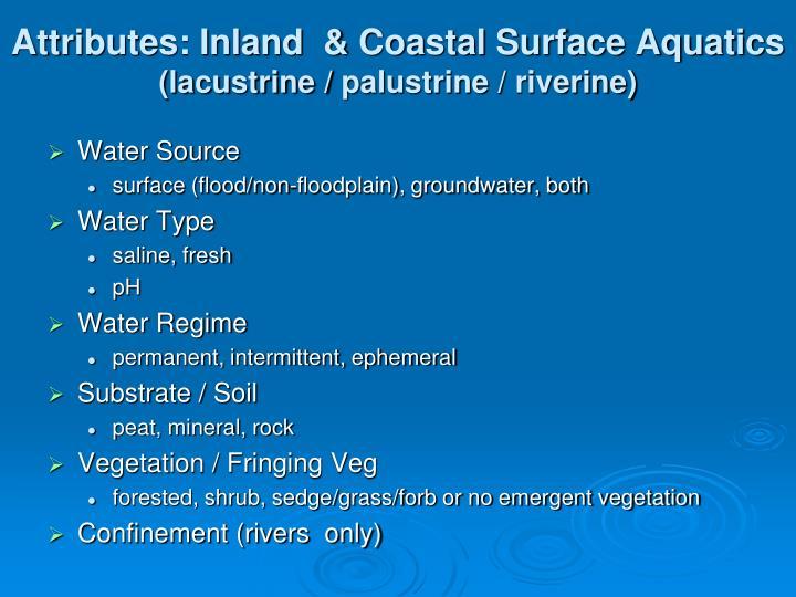 Attributes: Inland  & Coastal Surface Aquatics