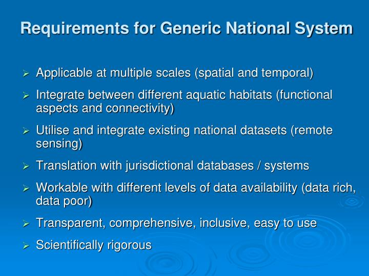 Requirements for Generic National System