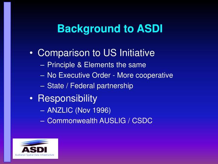 Background to asdi