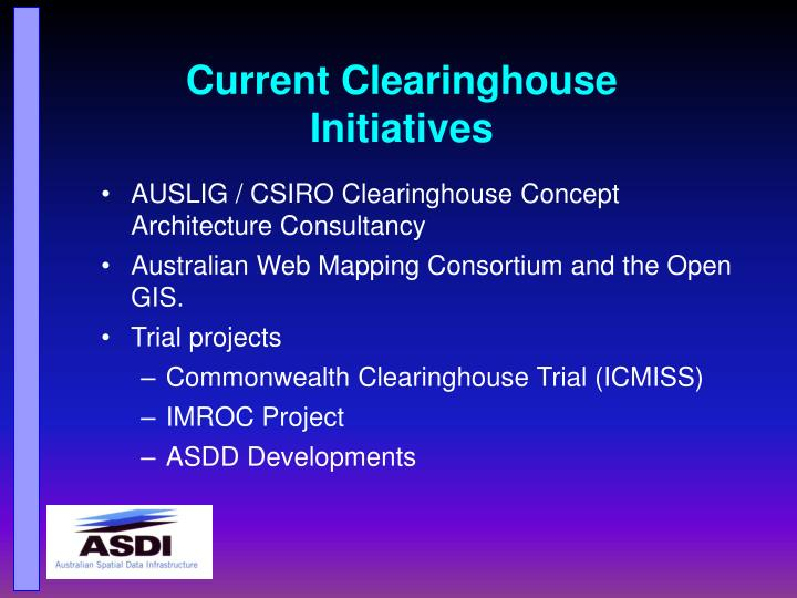 Current Clearinghouse Initiatives