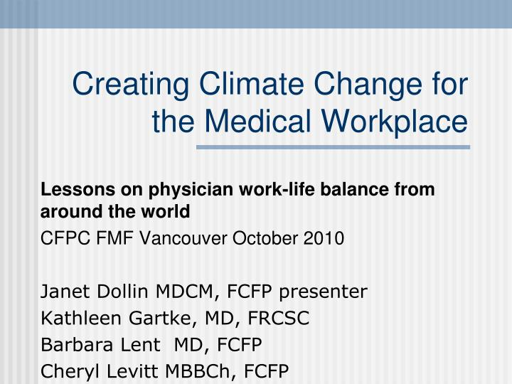 creating climate change for the medical workplace n.