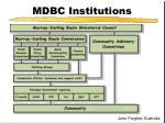 mdbc institutions