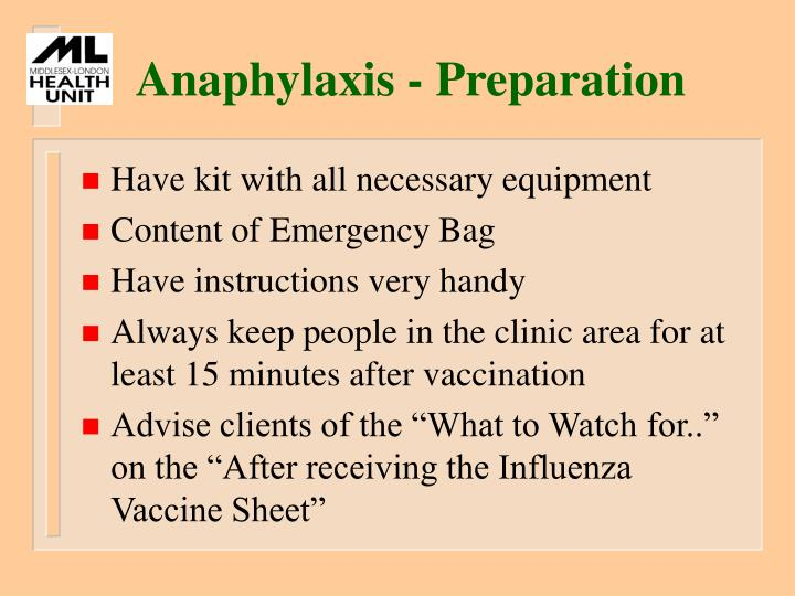 Anaphylaxis - Preparation