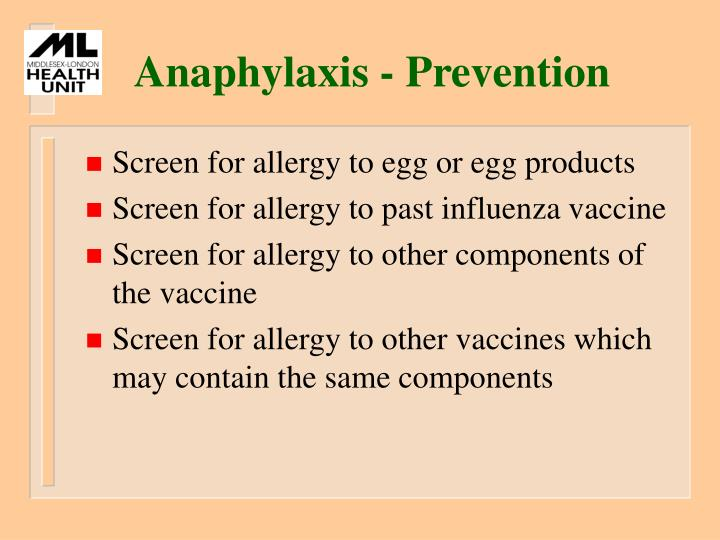 Anaphylaxis - Prevention