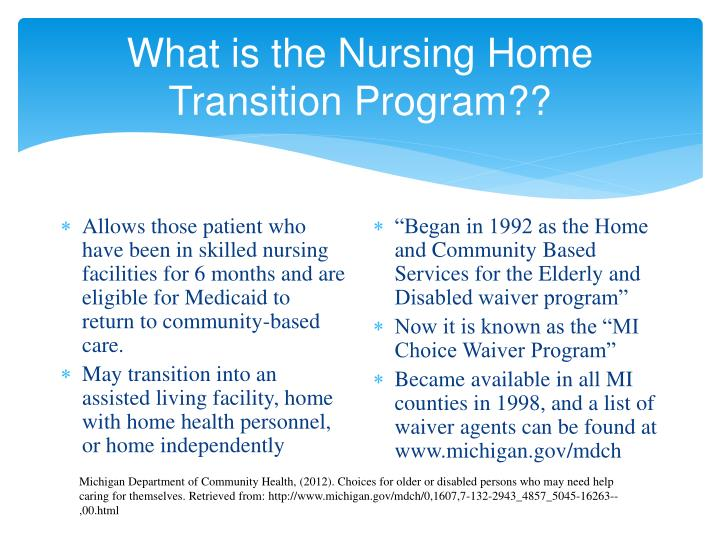 What is the nursing home transition program