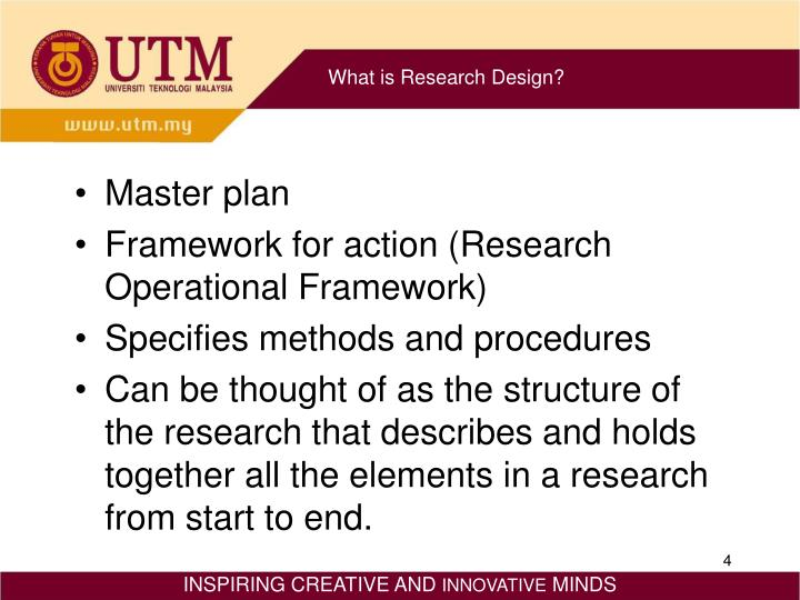 what is a research design A research design may be described as a series of decisions that as a whole form a strategy for answering the research questions and (2001) view research design as a structured set of rational decision-making choices, or guidelines, to assist in generating valid and reliable research results.