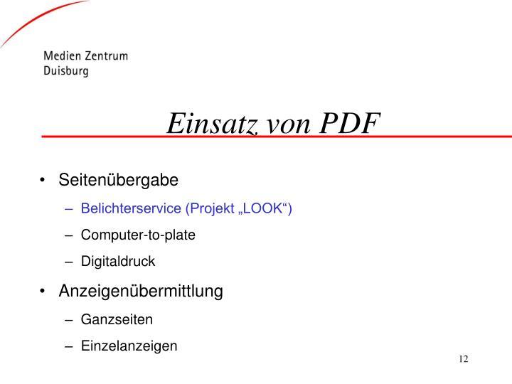 Einsatz von PDF