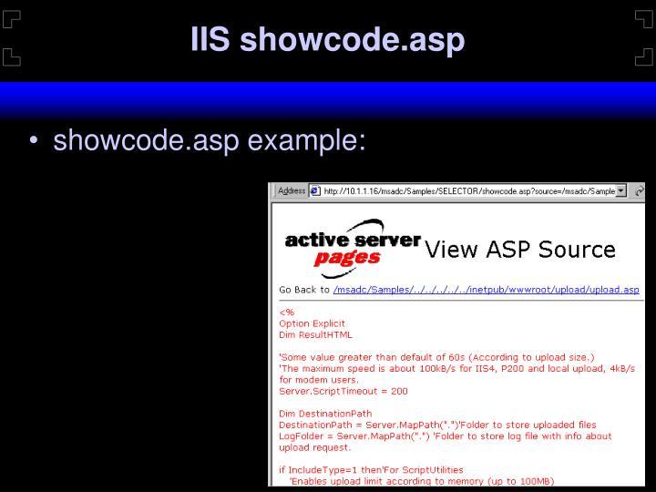 IIS showcode.asp