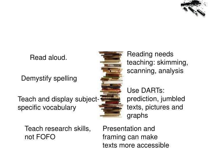 Reading needs teaching: skimming, scanning, analysis