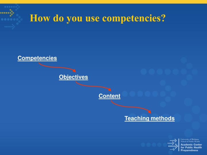 How do you use competencies?