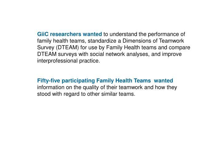 GiiC researchers wanted