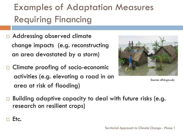 Examples of Adaptation Measures Requiring Financing