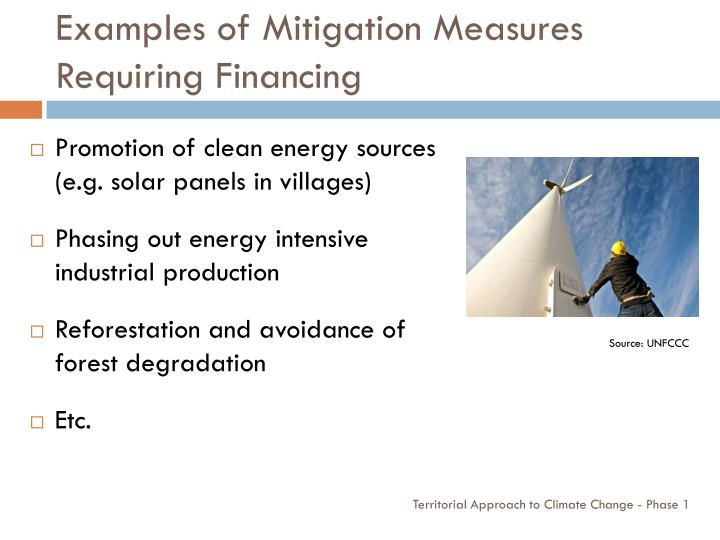 Examples of Mitigation Measures Requiring Financing