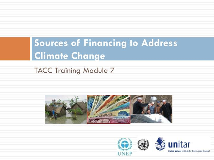 Sources of financing to address climate change