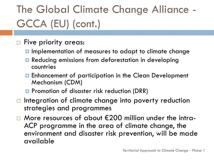 The Global Climate Change Alliance - GCCA (EU) (cont.)