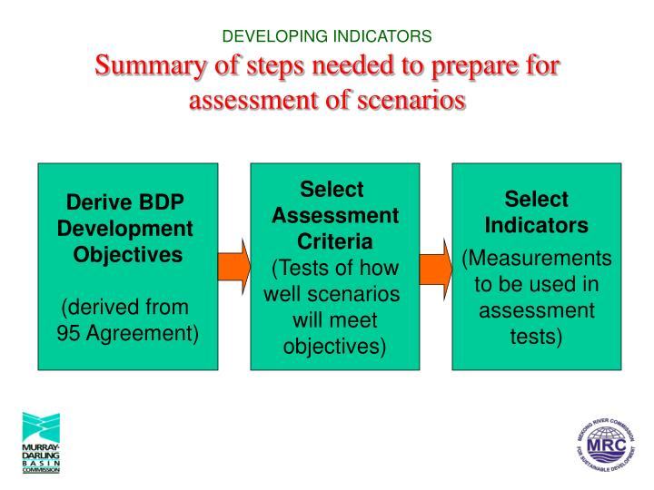 Developing indicators summary of steps needed to prepare for assessment of scenarios