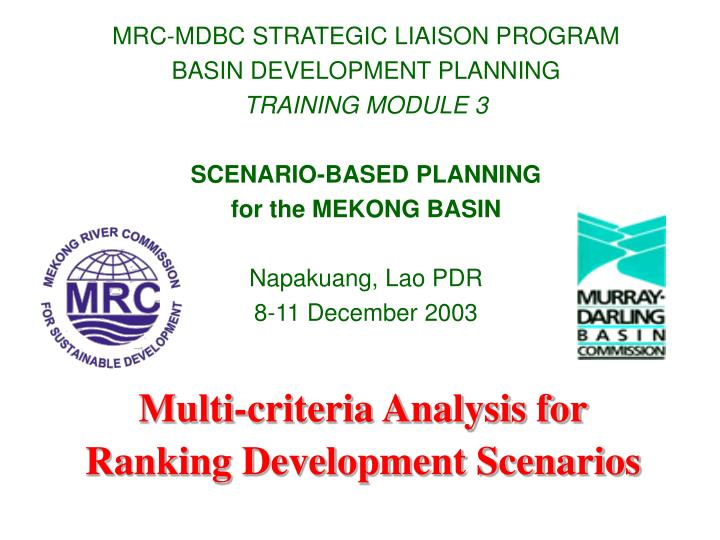 MRC-MDBC STRATEGIC LIAISON PROGRAM