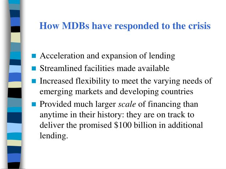 How MDBs have responded to the crisis