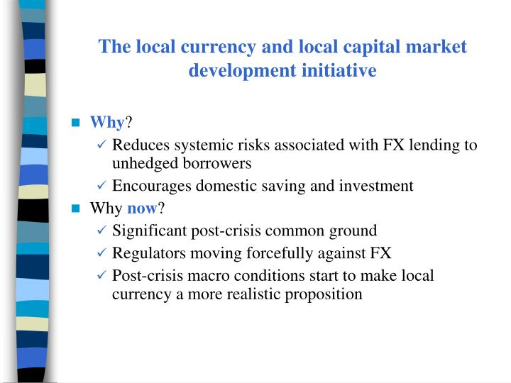 The local currency and local capital market development initiative