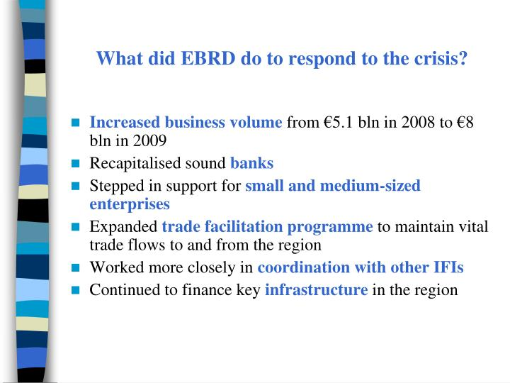 What did EBRD do to respond to the crisis?