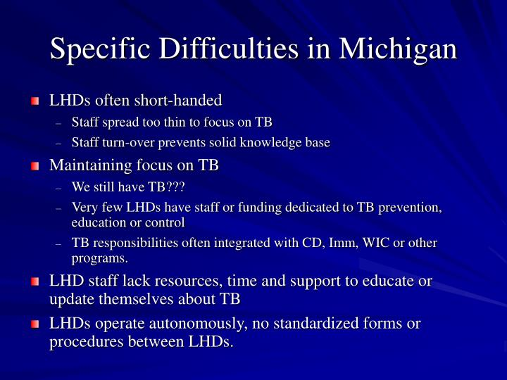 Specific Difficulties in Michigan