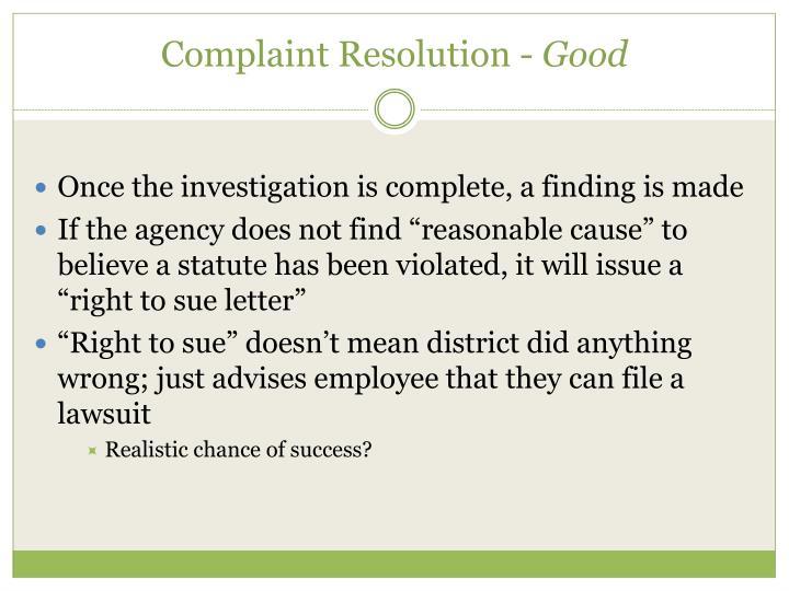 Complaint Resolution -