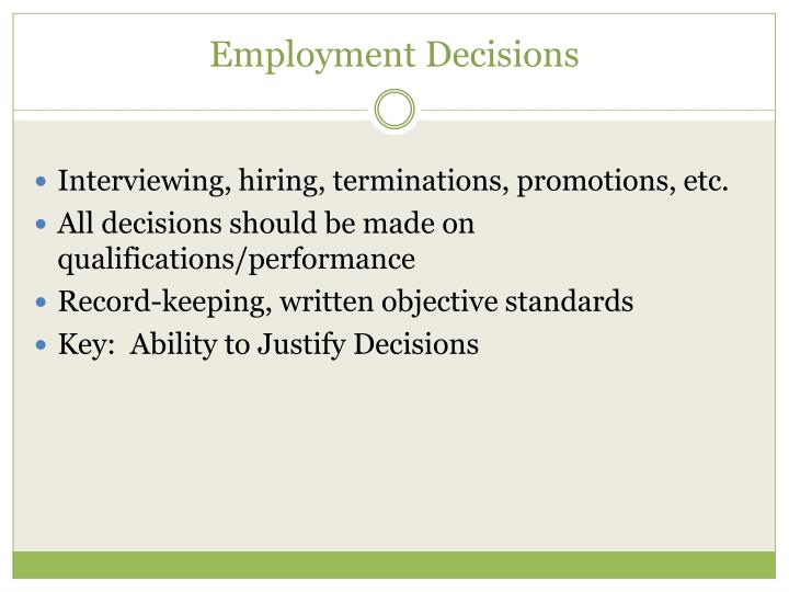 Employment Decisions