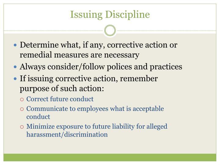 Issuing Discipline