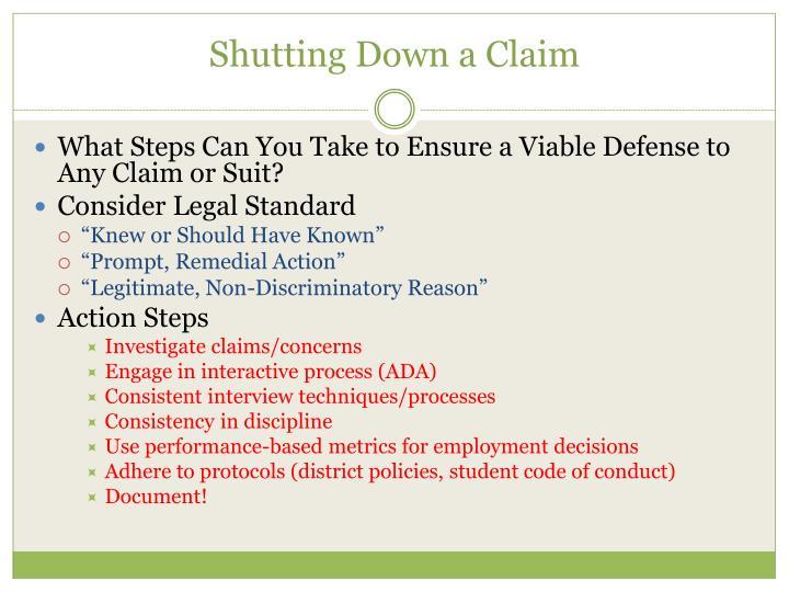 Shutting Down a Claim