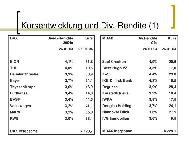 Kursentwicklung und Div.-Rendite (1)