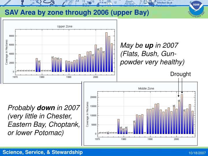 SAV Area by zone through 2006 (upper Bay)