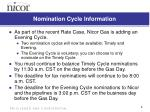 nomination cycle information