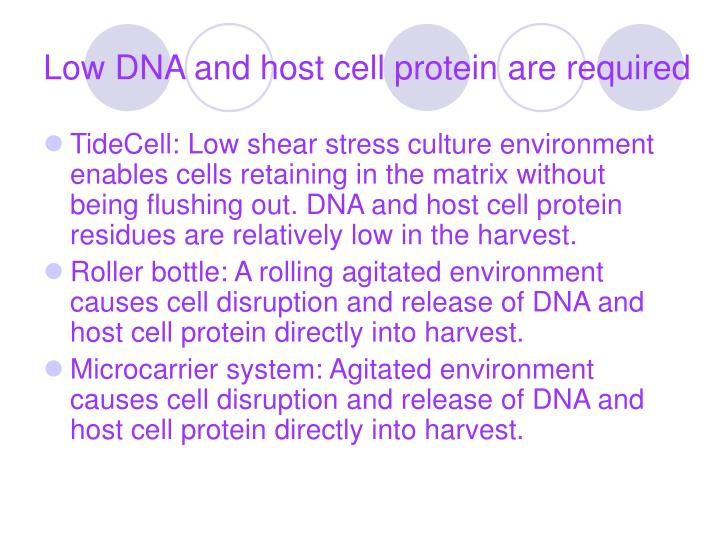 Low DNA and host cell protein are required