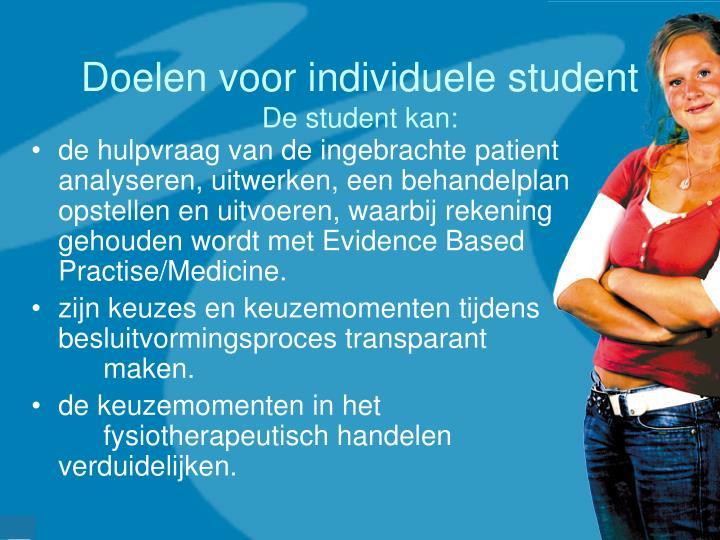 Doelen voor individuele student