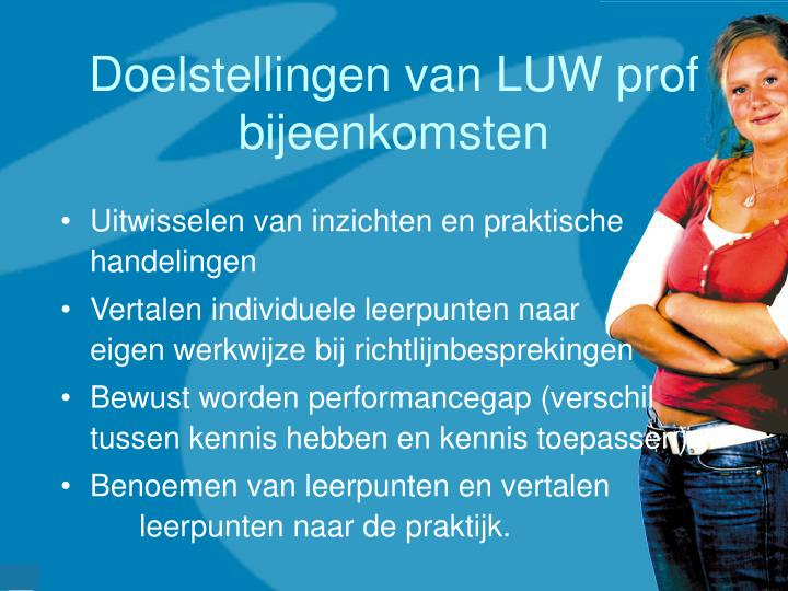 Doelstellingen van LUW prof bijeenkomsten