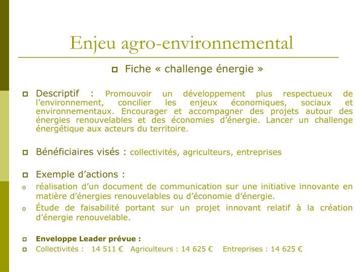 Enjeu agro-environnemental