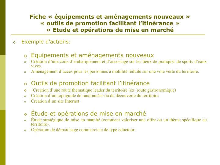 Fiche « équipements et aménagements nouveaux »