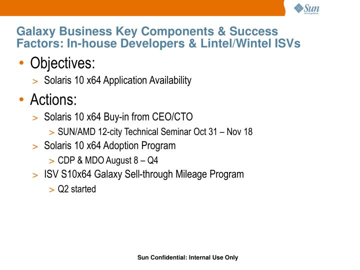 Galaxy Business Key Components & Success Factors: In-house Developers & Lintel/Wintel ISVs