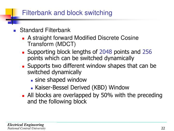 Filterbank and block switching