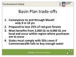 basin plan trade offs