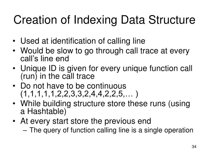 Creation of Indexing Data Structure