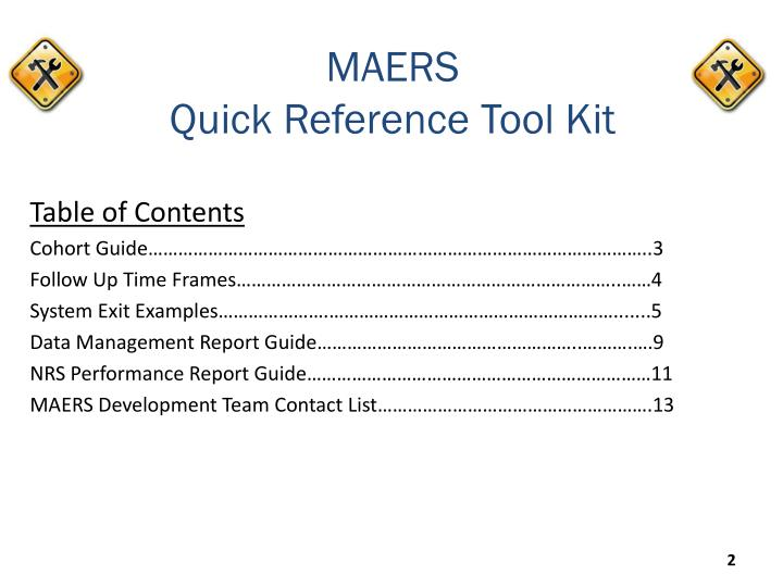 Maers quick reference tool kit1